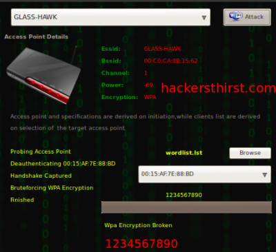 Cracking WPA encryption based WIFI password