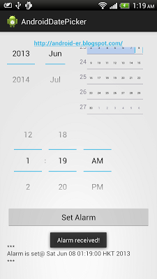 Set alarm on specified date/time with DatePicker/TimePicker