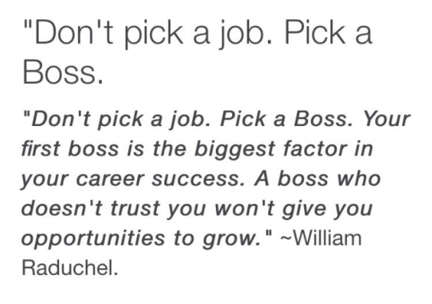 Don't Pick a Job, Pick a Boss